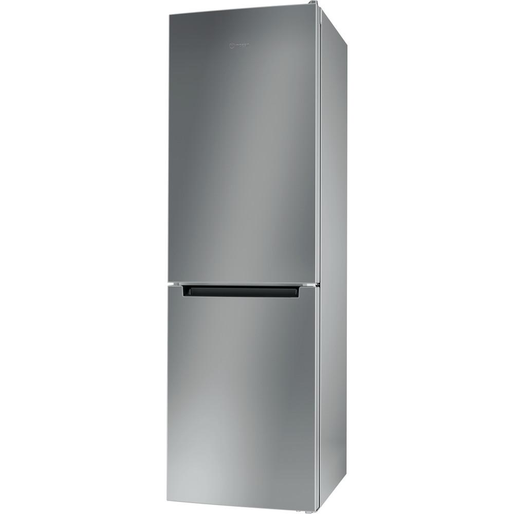 Indesit Fridge-Freezer Combination Free-standing LI8 S1E S UK Silver 2 doors Perspective