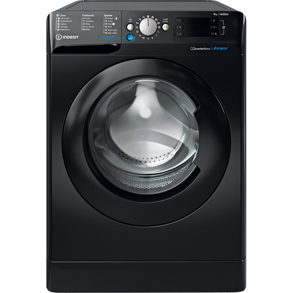 Indesit Washing machine Free-standing BWE 91483X K UK N Black Front loader D Frontal
