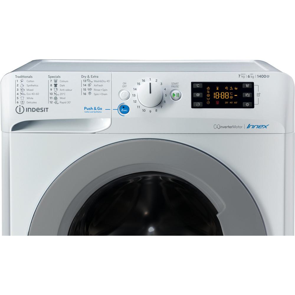 Indesit Perilica i sušilica Samostojeći BDE 761483X WS EE N Bijela Prednje punjenje Control panel