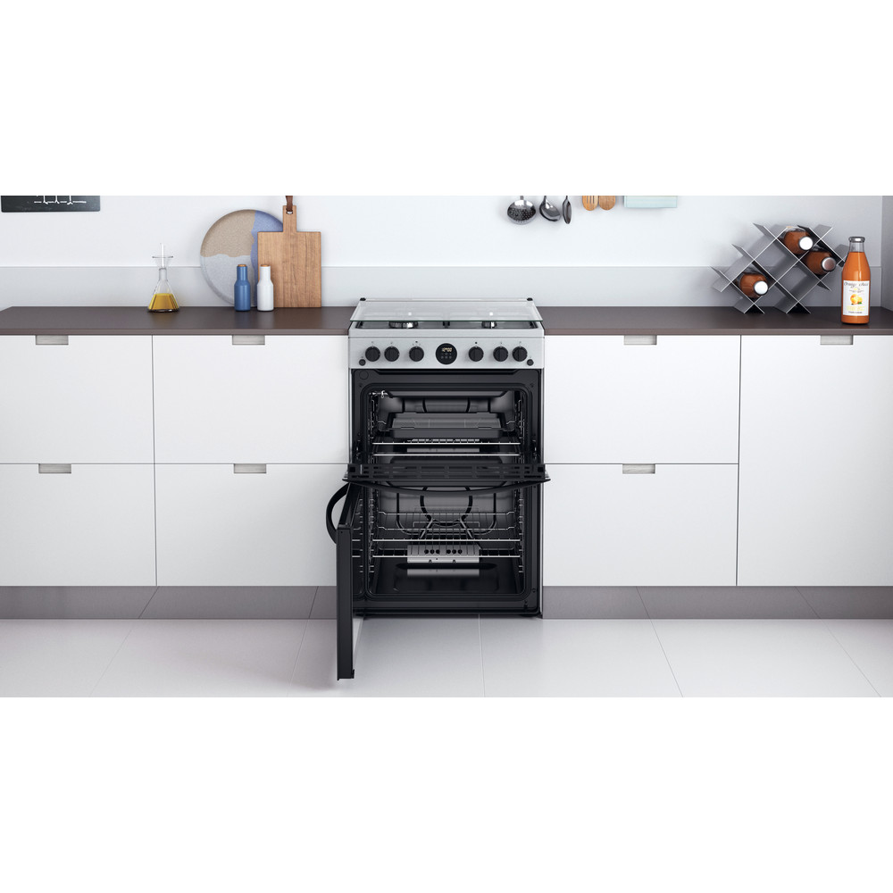 Indesit Double Cooker ID67G0MCX/UK Inox A+ Lifestyle frontal open