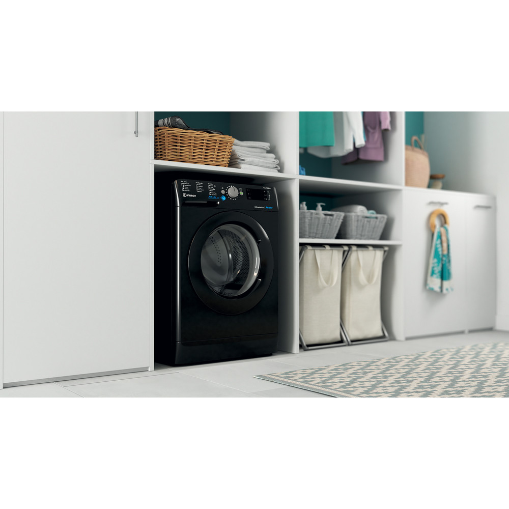 Indesit Washing machine Free-standing BWE 91483X K UK N Black Front loader D Lifestyle perspective