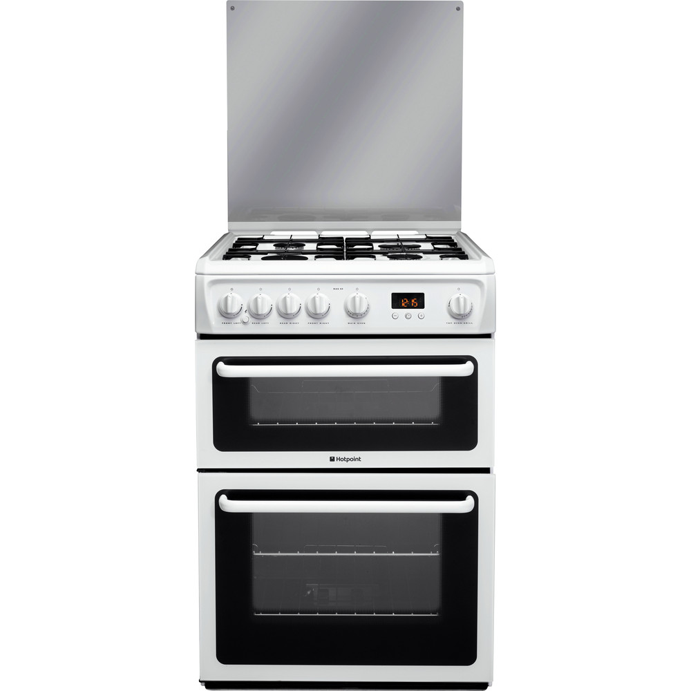Hotpoint Double Cooker HAGL60P White A+ Enamelled Sheetmetal Frontal