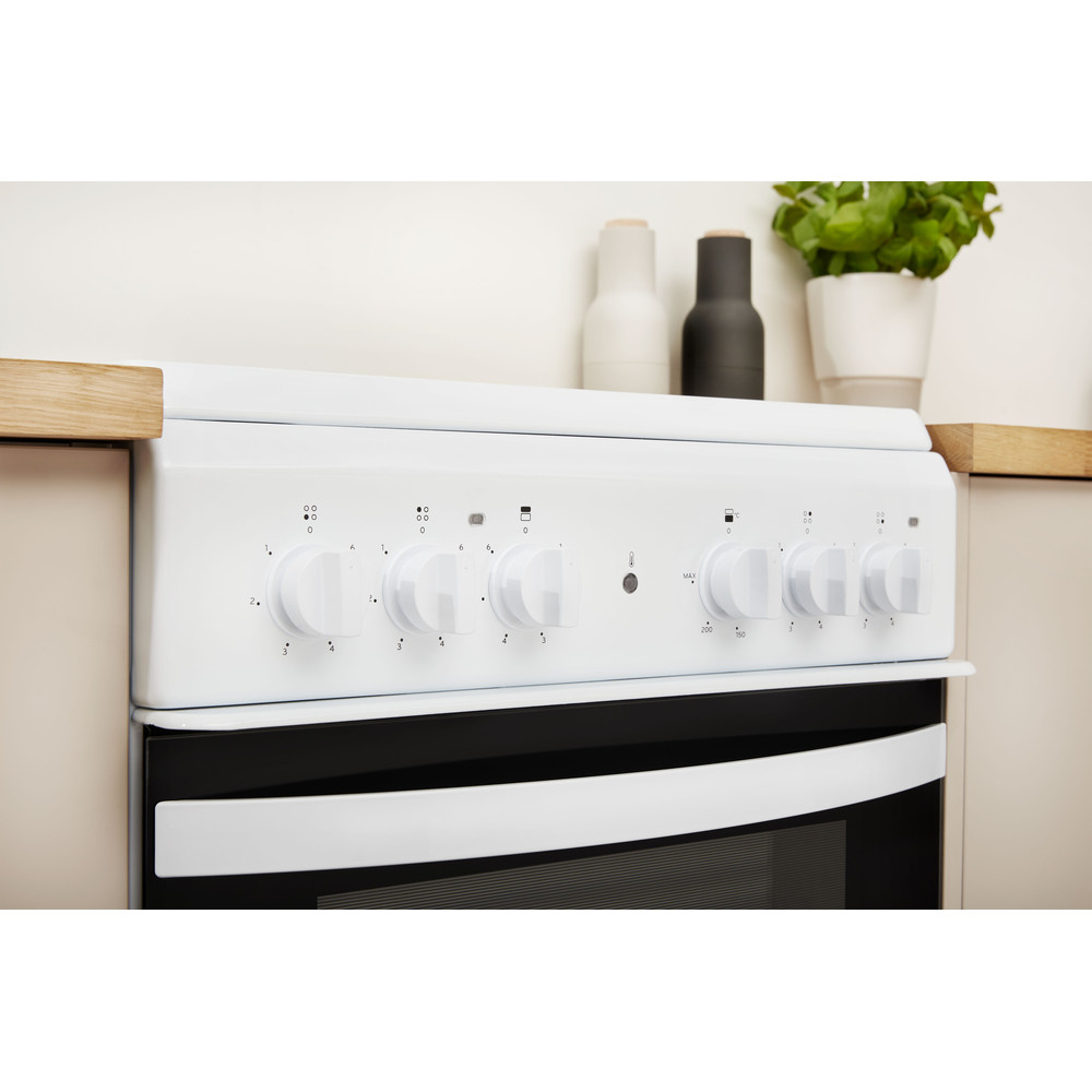 Indesit Double Cooker ID5V92KMW/UK White A Vitroceramic Lifestyle control panel