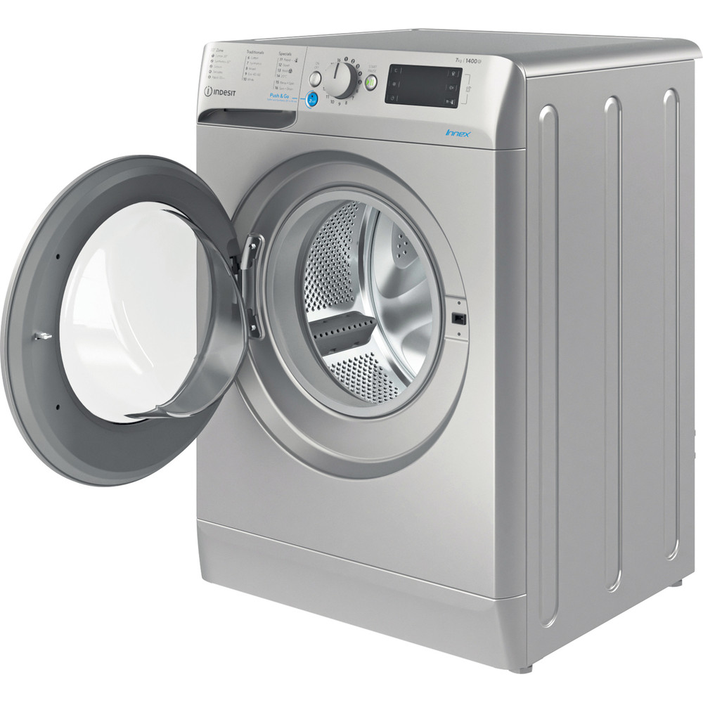 Indesit Washing machine Free-standing BWE 71452 S UK N Silver Front loader E Perspective open