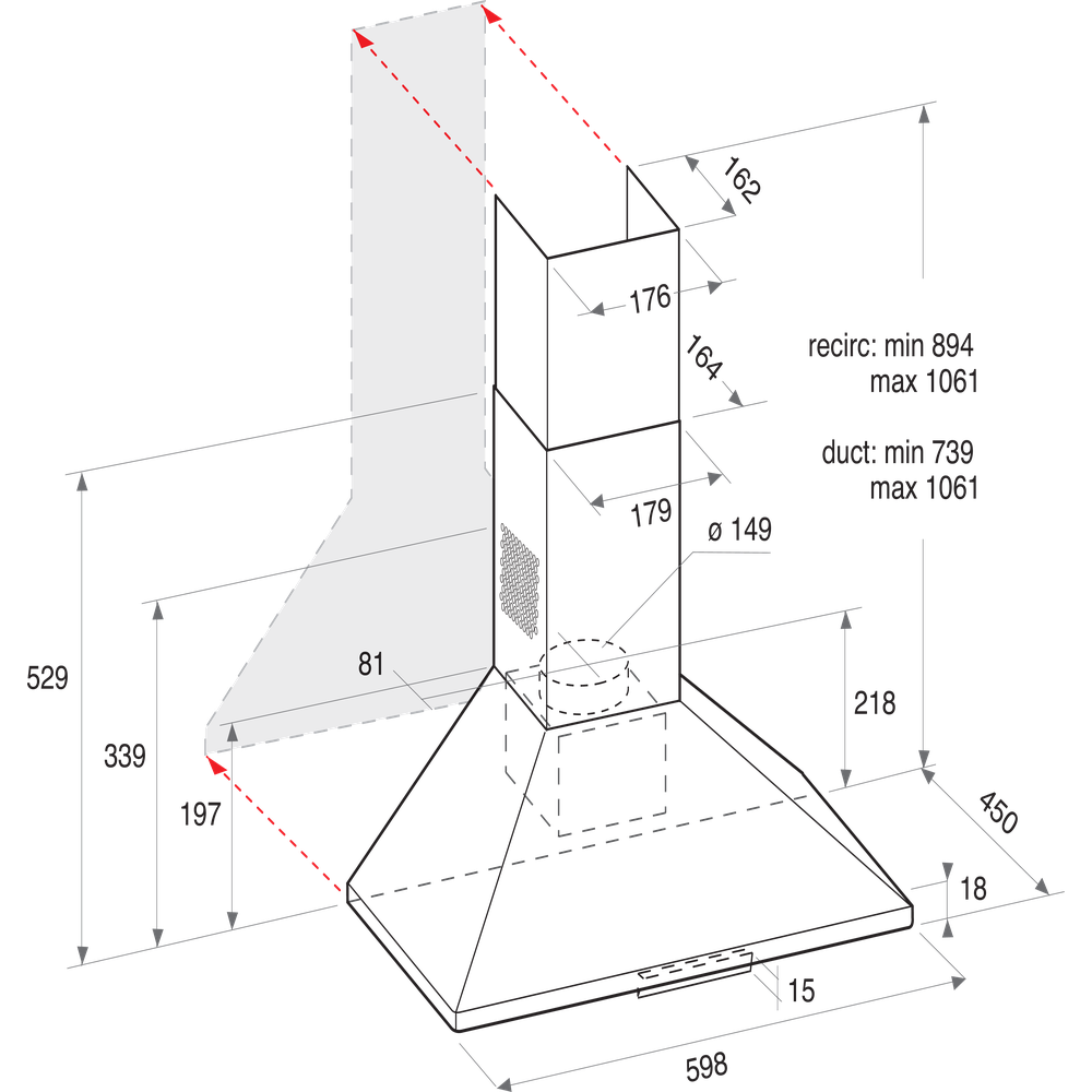 Indesit HOOD Free-standing UHPM 6.3F CS X/1 Inox Wall-mounted Mechanical Technical drawing
