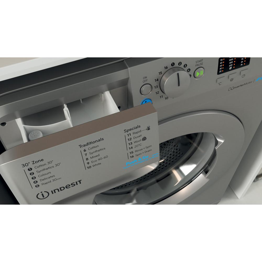 Indesit Washing machine Free-standing BWA 81483X S UK N Silver Front loader D Drawer