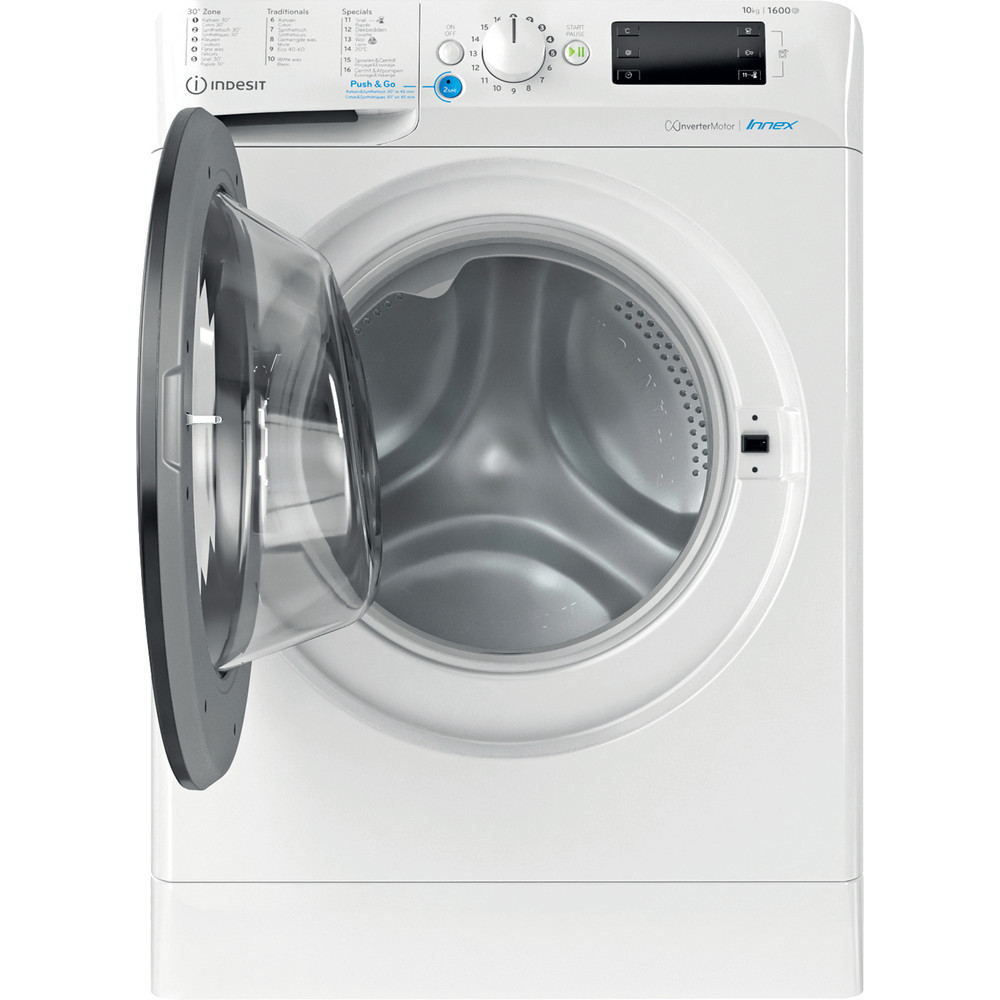Indesit Lave-linge Pose-libre BWEBE 101683X WK N Blanc Frontal D Frontal open