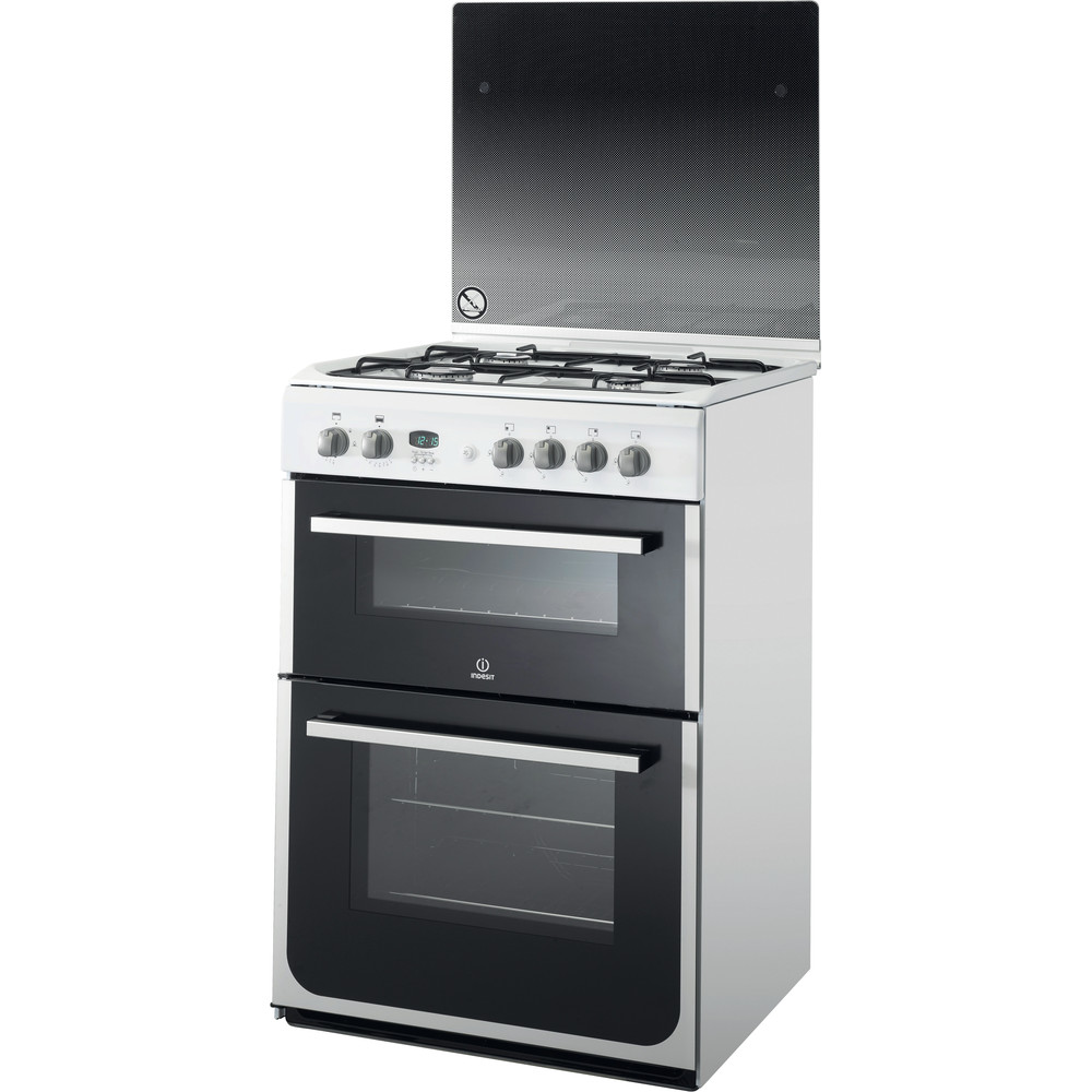 Indesit Double Cooker DD60G2CG(W)/UK White A+ Enamelled Sheetmetal Perspective