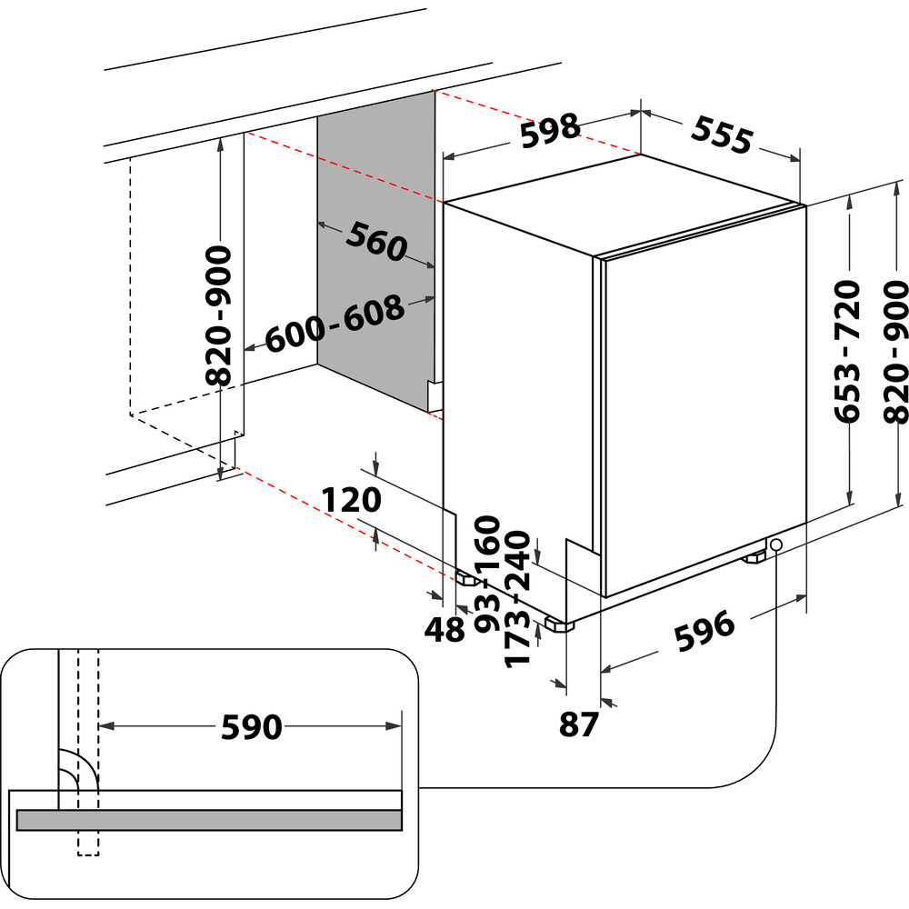 Indesit Geschirrspüler Einbau DIO 3T131 A FE X Vollintegrierbar D Technical drawing