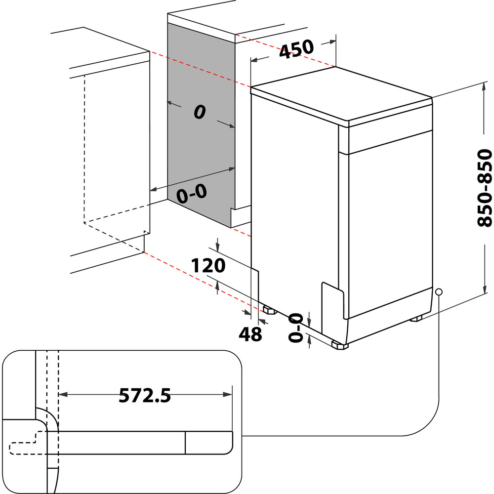 Indesit Dishwasher Free-standing DSFO 3T224 Z UK N Free-standing E Technical drawing