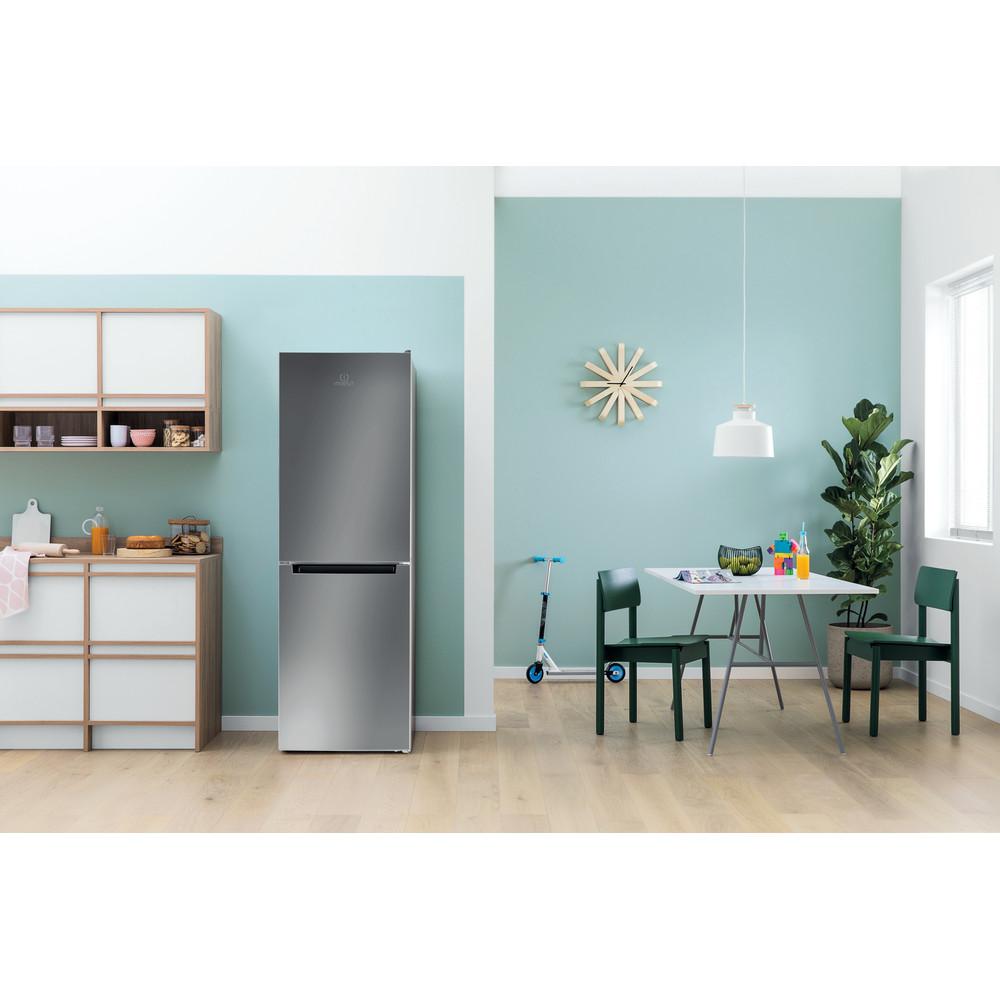 Indesit Réfrigérateur combiné Pose-libre LI7 SN2E X Inox 2 portes Lifestyle frontal