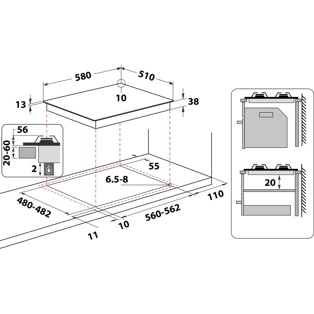 Indesit HOB THP 641 W/IX/I Inox GAS Technical drawing