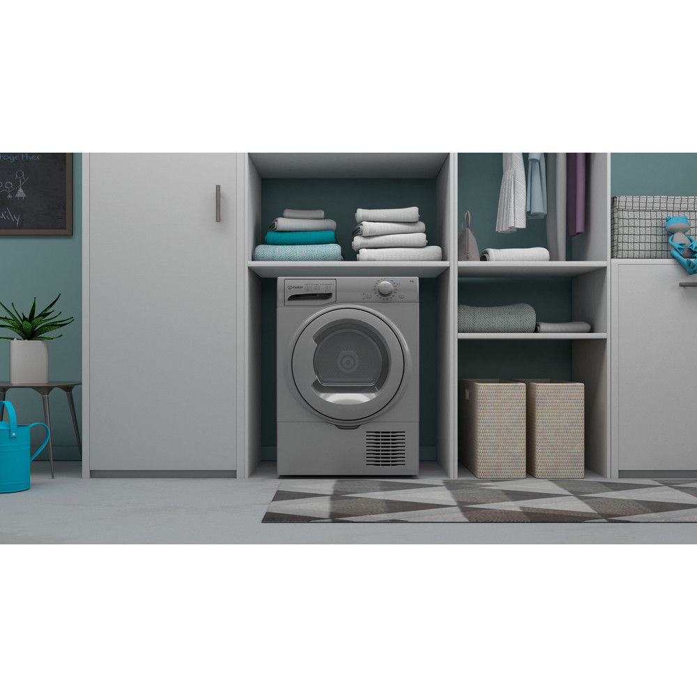 Indesit Dryer I2 D81S UK Silver Lifestyle frontal