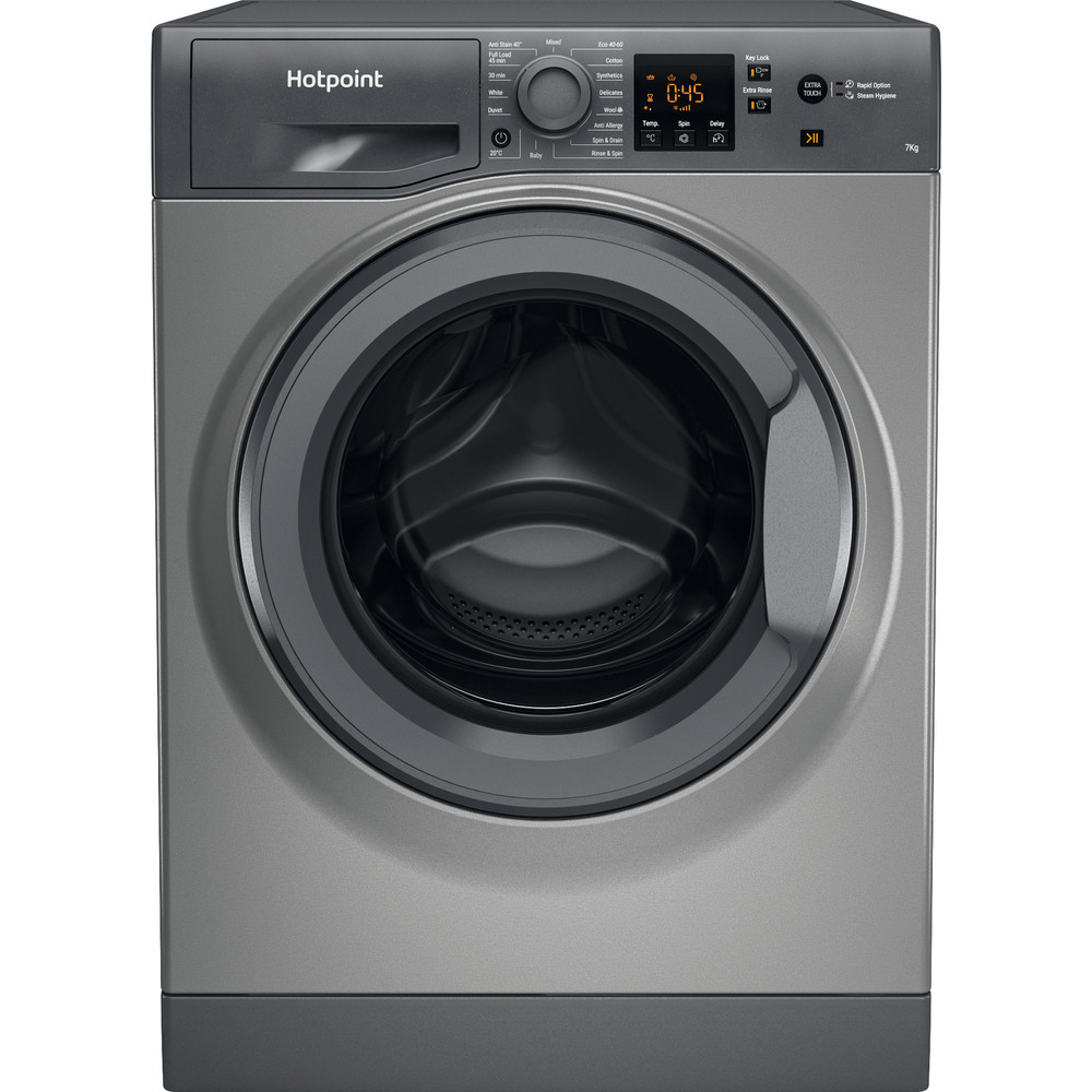 Hotpoint Washing machine Free-standing NSWR 742U GK UK N Graphite Front loader A+++ Frontal