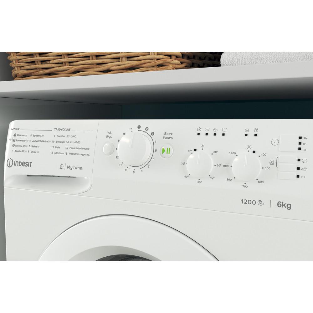 Indesit Pralka Wolnostojące MTWSC 61252 W PL Biel Ładowany od frontu F Lifestyle control panel