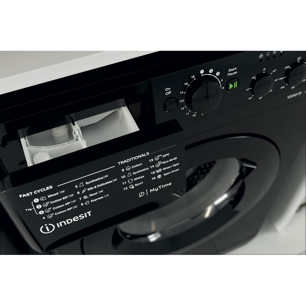 Indesit Washing machine Free-standing MTWC 71252 K UK Black Front loader E Drawer