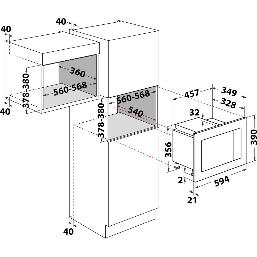 Indesit Микроволновая печь Встраиваемый MWI 120 GX Нержавеющая сталь Электронное 20 Микроволновая печь с функцией гриля 800 Technical drawing
