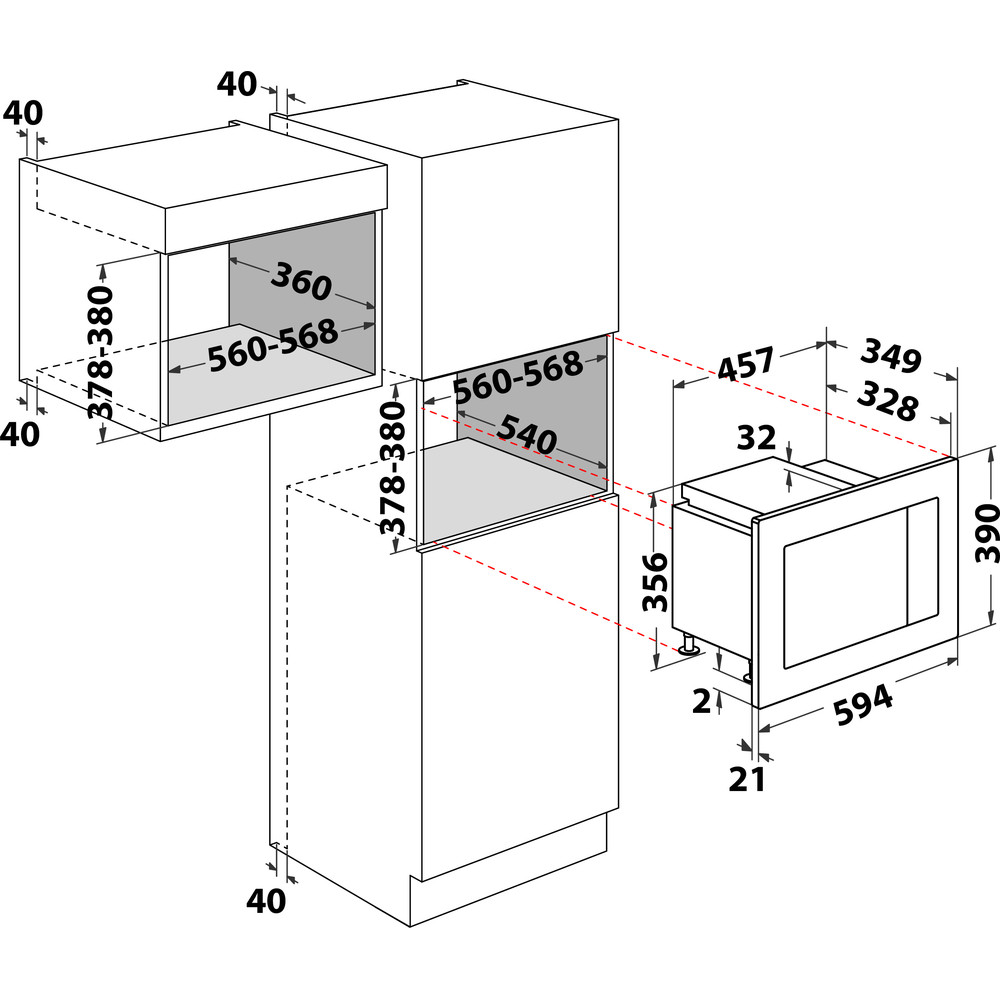 Indesit Micro-ondas Encastre MWI 120 GX Aço inoxidável Eletrónico 20 MO + Função Grill 800 Technical drawing