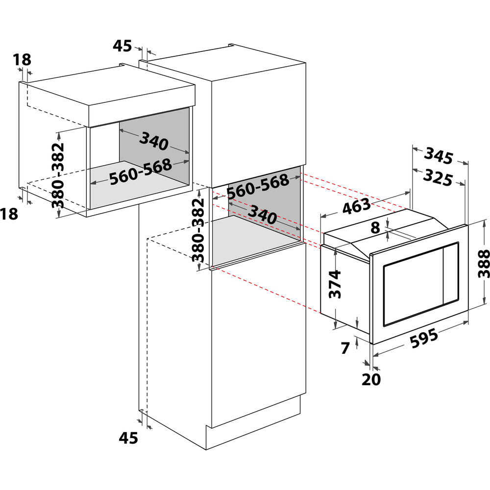 Indesit Microondas Encastre MWI 122.2 X Inox Electrónico 20 MW + Función Grill 800 Technical drawing