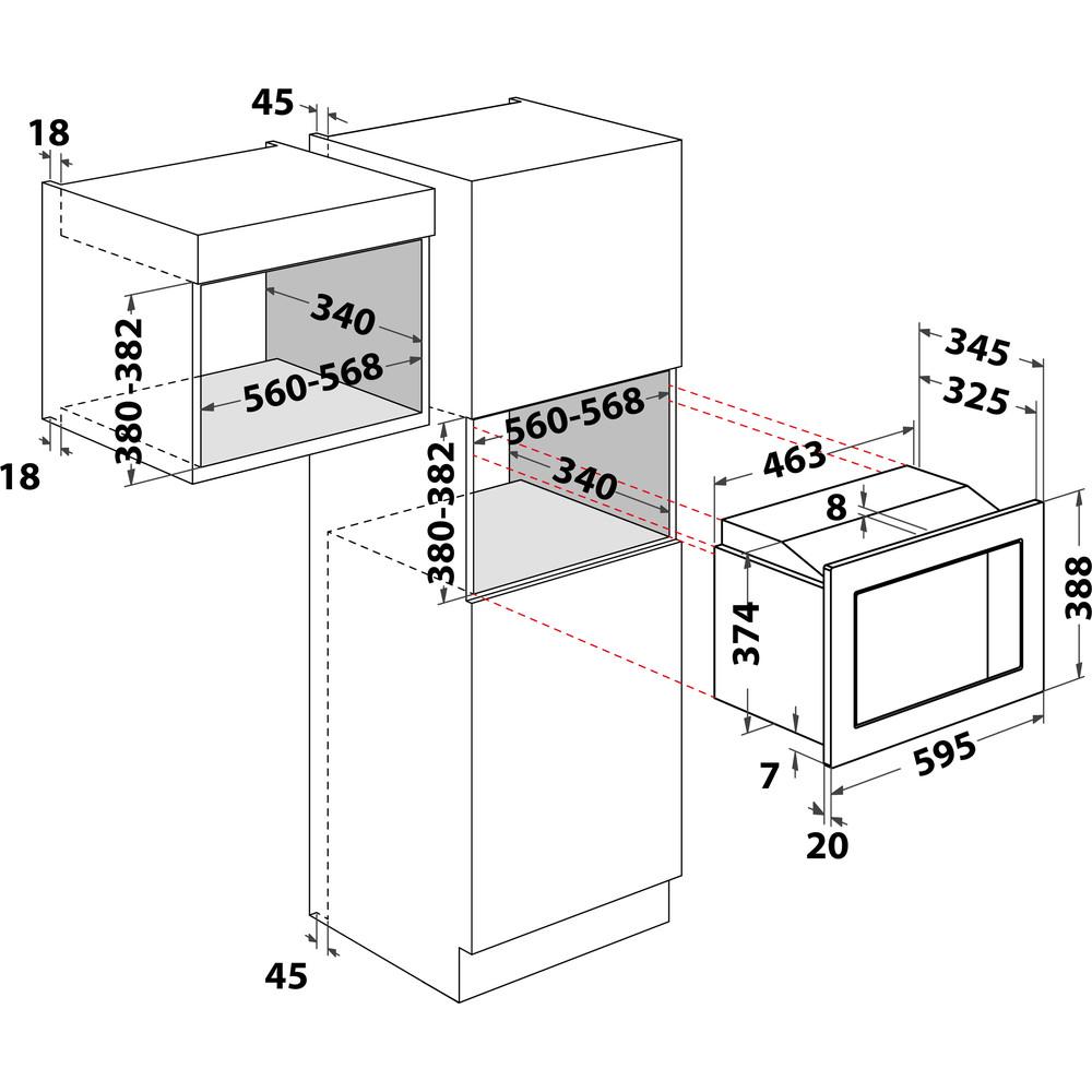 Indesit Mikrovlnná trouba Vestavné MWI 122.2 X Nerez Elektronické 20 Mikrovlny + Gril 800 Technical drawing