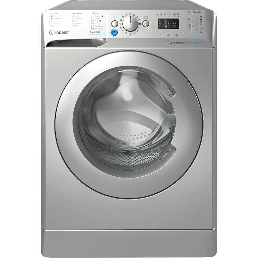 Indesit Washing machine Free-standing BWA 81483X S UK N Silver Front loader D Frontal