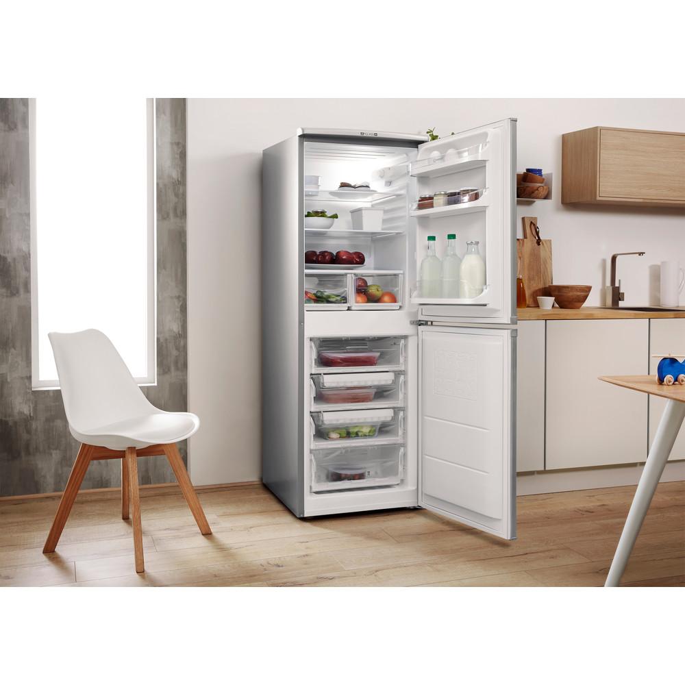 Indsit Racitor-congelator combinat Independent CAA 55 NX Inox 2 doors Lifestyle perspective open