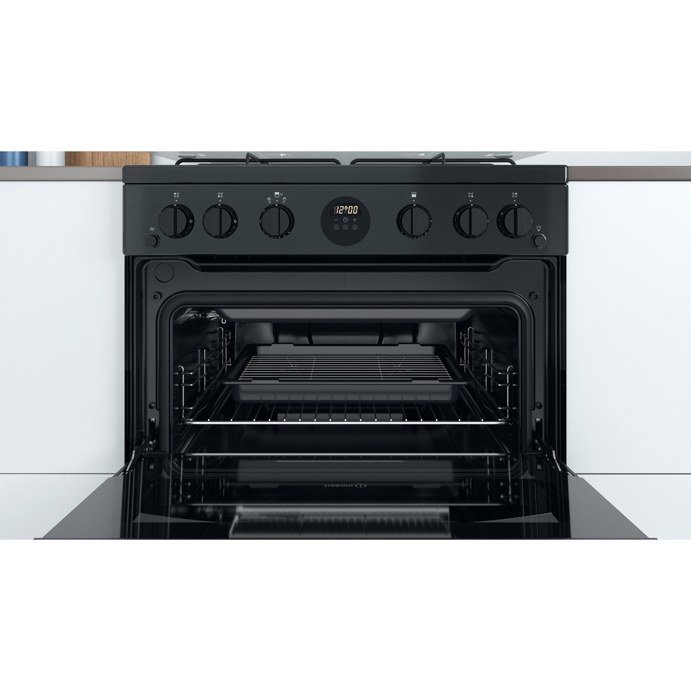 Indesit Double Cooker ID67G0MCB/UK Black A+ Cavity
