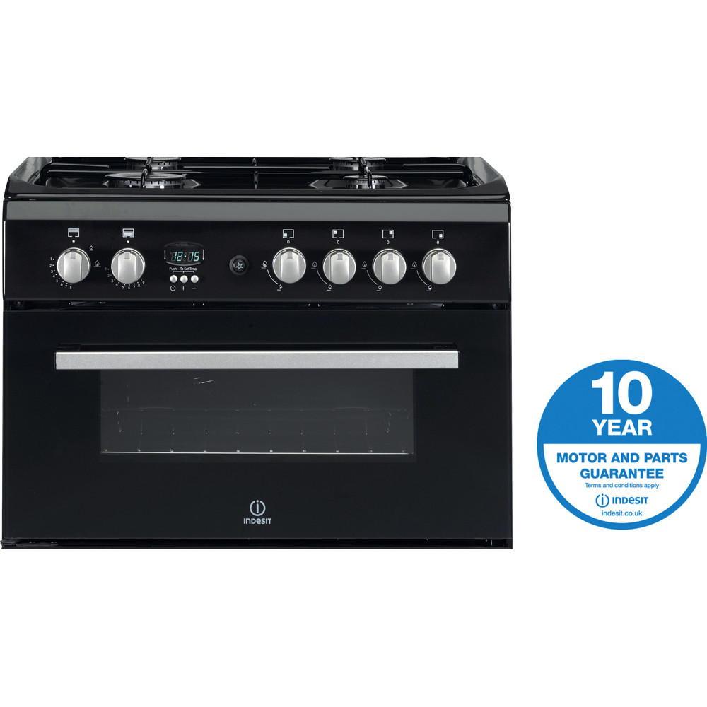 Indesit Double Cooker DD60G2CG(K)/UK Black A+ Enamelled Sheetmetal Award