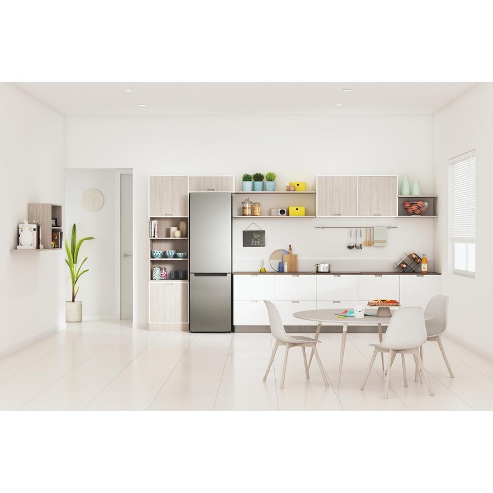 Indesit Combiné réfrigérateur congélateur Pose-libre INFC9 TI22X Inox 2 portes Lifestyle frontal