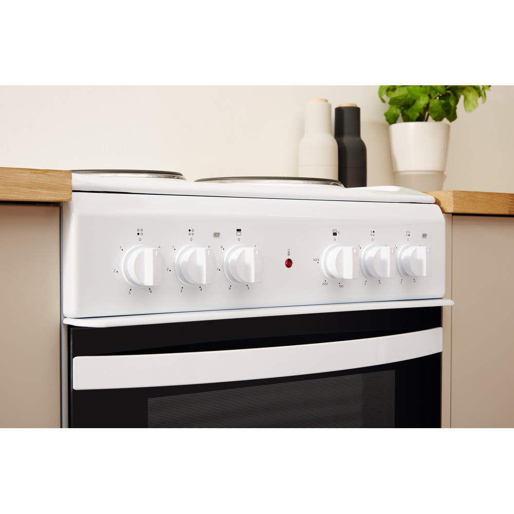 Indesit Double Cooker ID5E92KMW/UK White A Enamelled Sheetmetal Lifestyle control panel