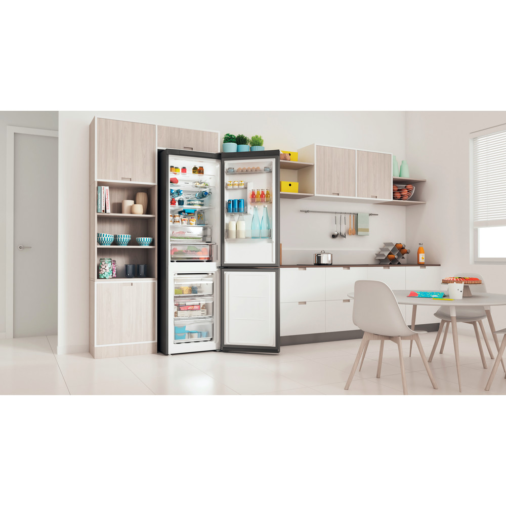 Indesit Combiné réfrigérateur congélateur Pose-libre INFC9 TO32X Inox 2 portes Lifestyle perspective open