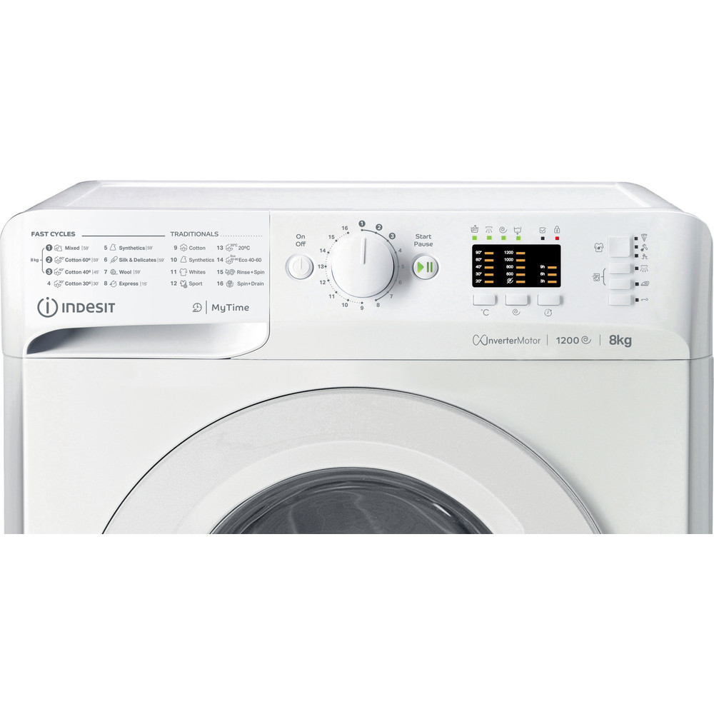 Indesit Перална машина Свободностоящи MTWA 81283 W EE Бял Предно зареждане D Control panel