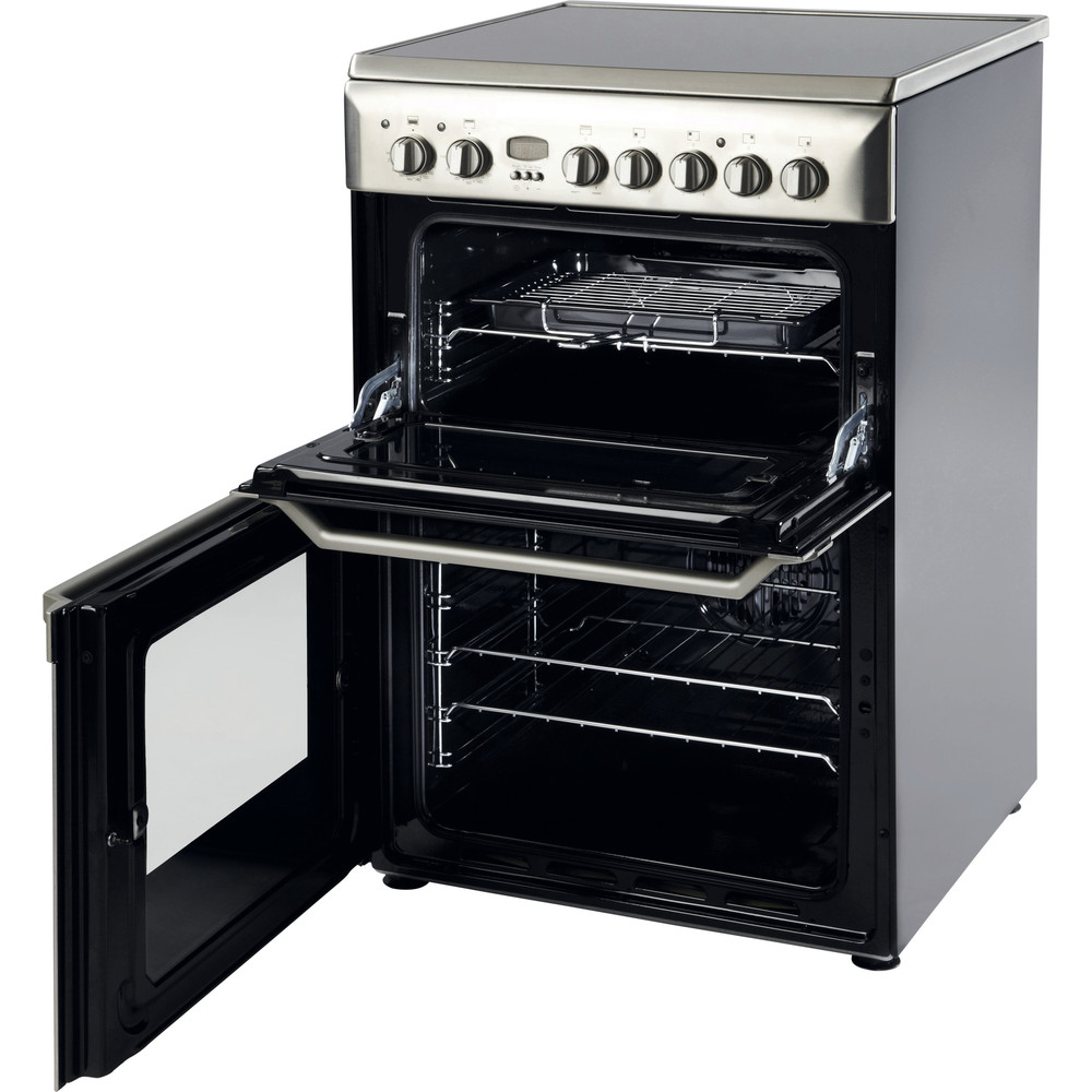 Indesit Double Cooker ID60C2(X) S Inox B Vitroceramic Perspective_Open