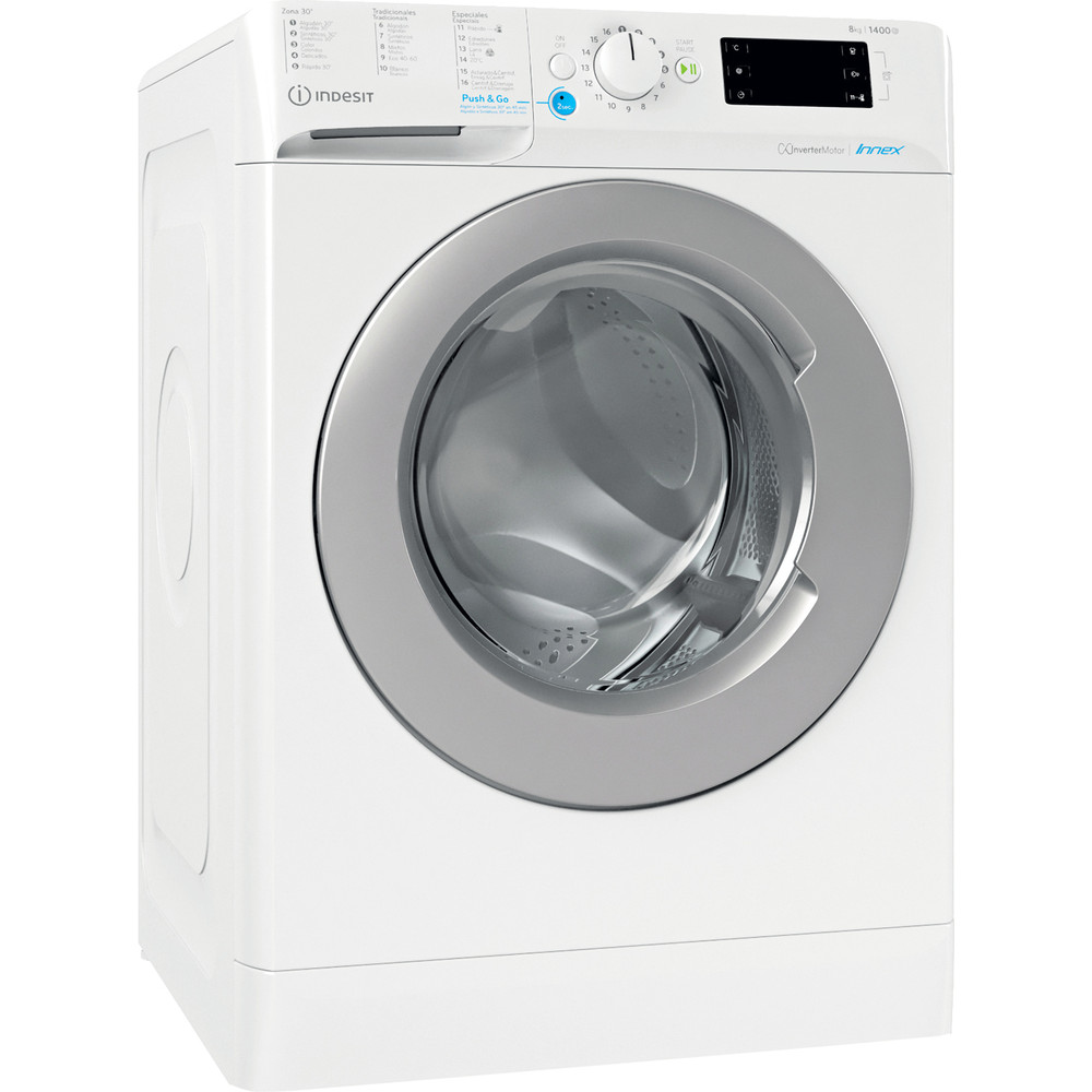 Indesit Máquina de lavar roupa Livre Instalação BWE 81484X WS SPT N Branco Carga Frontal C Perspective