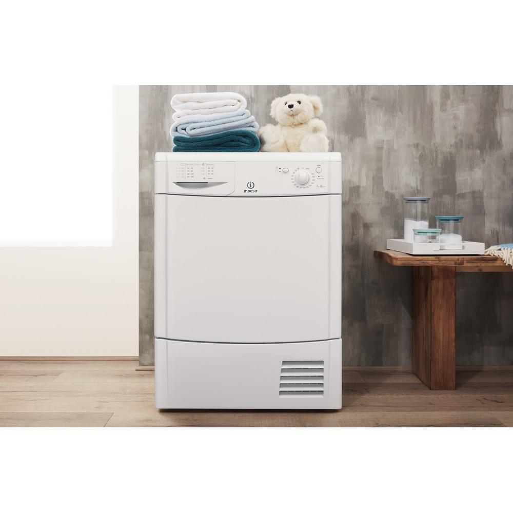Indesit Dryer IDC 75 B (UK) White Lifestyle frontal