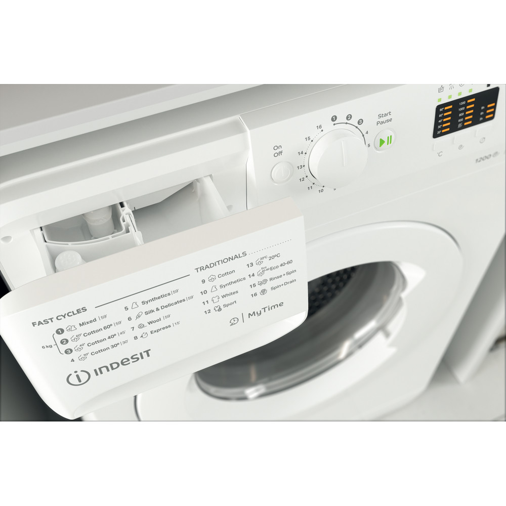 Indesit Lave-linge Pose-libre MTWSA 61252 W EE Blanc Frontal A+++ Drawer