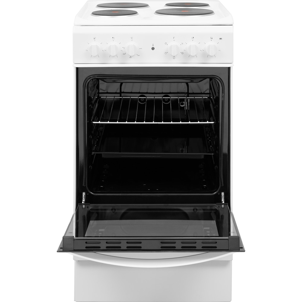 Indesit Cooker IS5E4KHW/UK White Electrical Frontal open