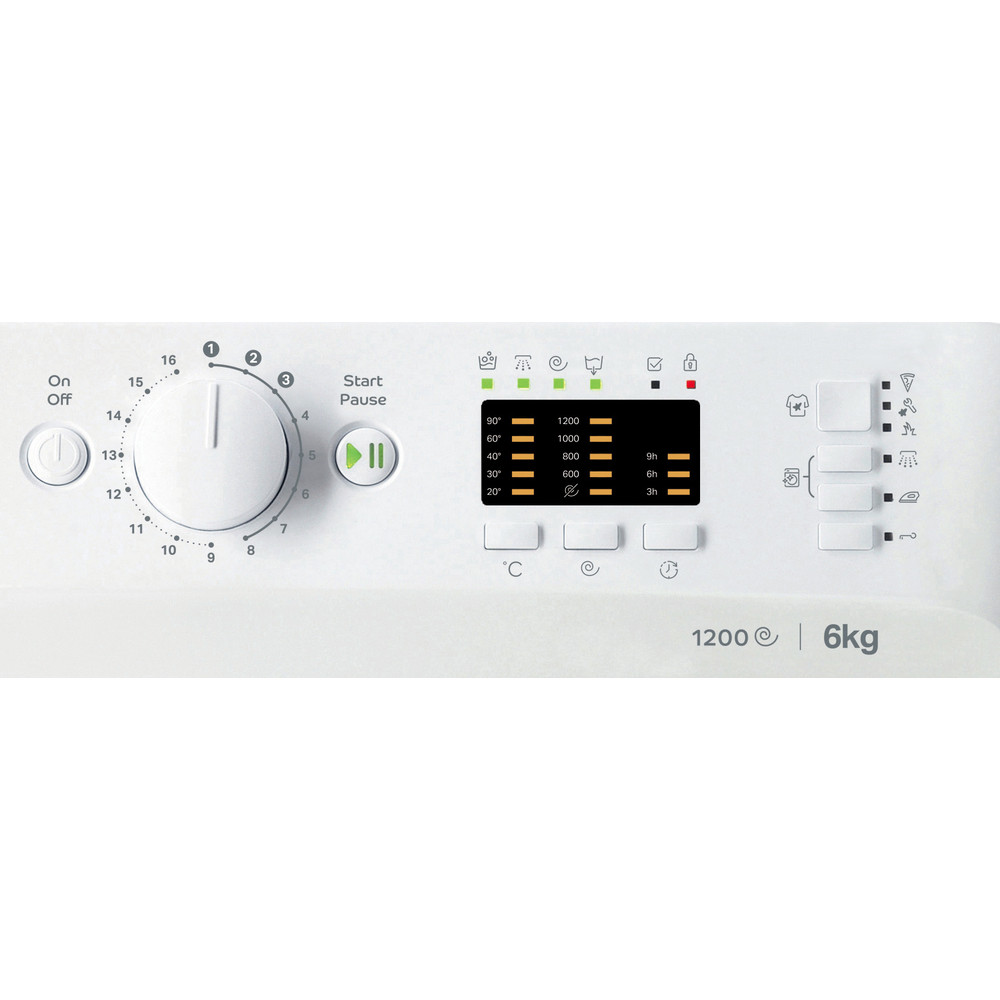 Indesit Перална машина Свободностоящи MTWSA 61252 W EE Бял Предно зареждане F Control panel