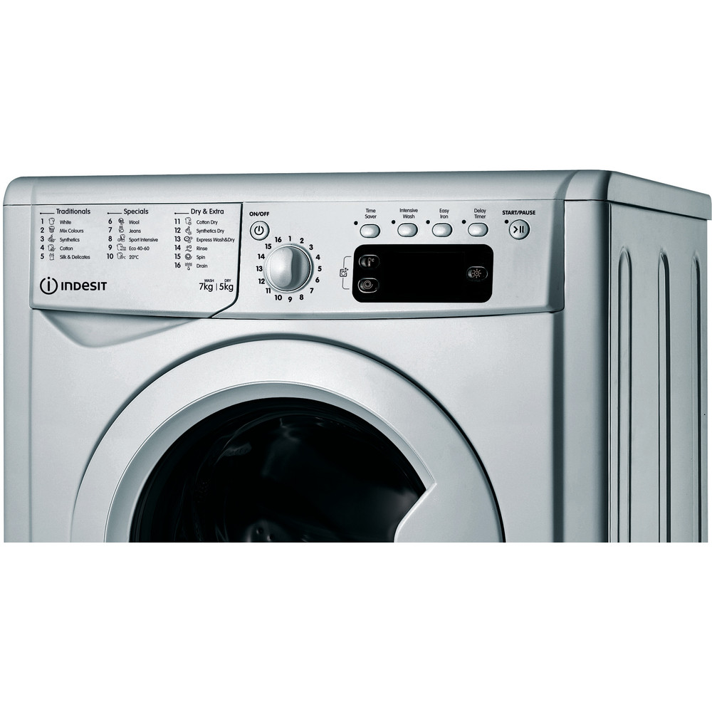 Indesit Washer dryer Free-standing IWDD 75145 S UK N Silver Front loader Control panel
