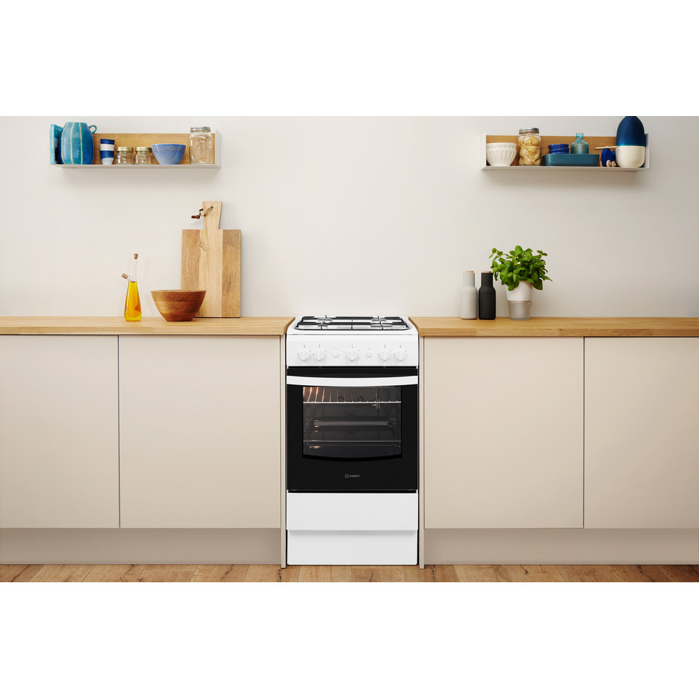 Indesit Cooker IS5G1KMW/U White GAS Lifestyle frontal
