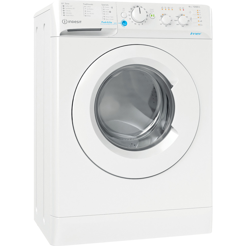 Indesit Washing machine Free-standing BWSC 61251 XW UK N White Front loader F Perspective