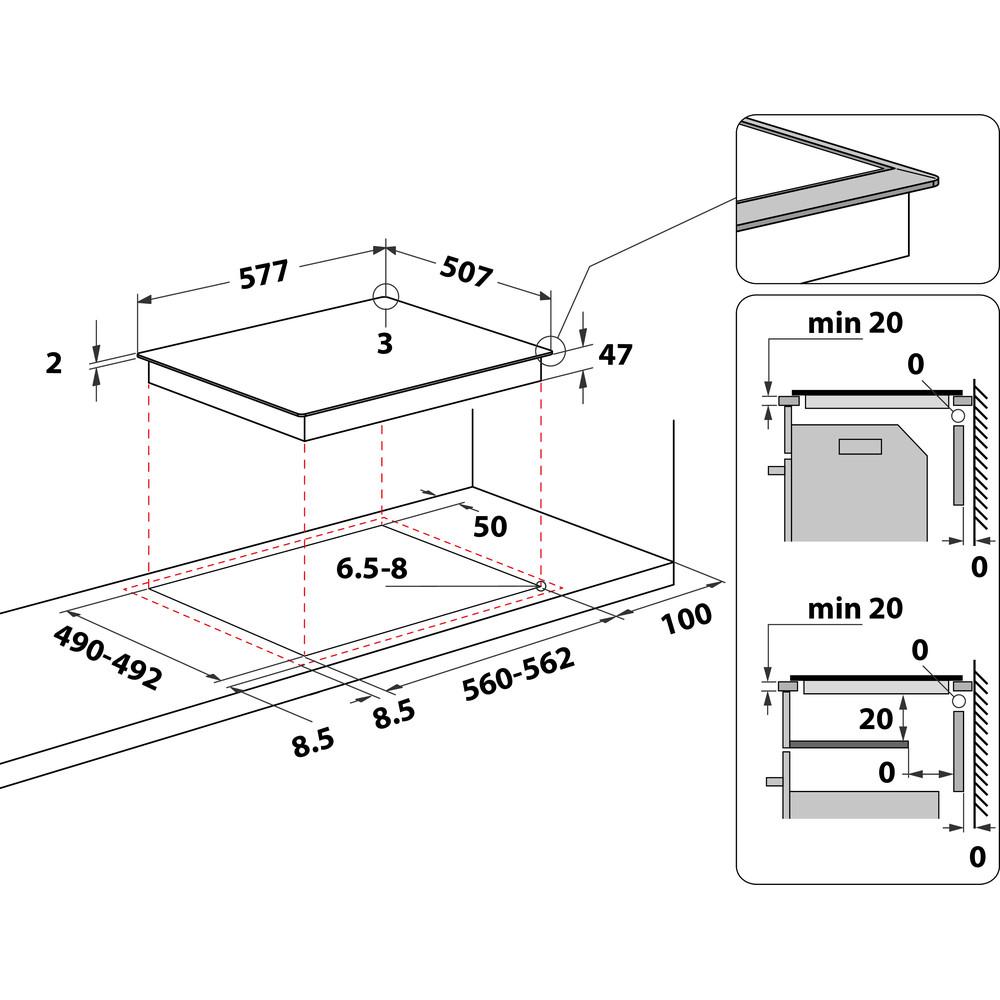 Indesit Ploča za kuhanje RI 261 X Crna Radiant vitroceramic Technical drawing
