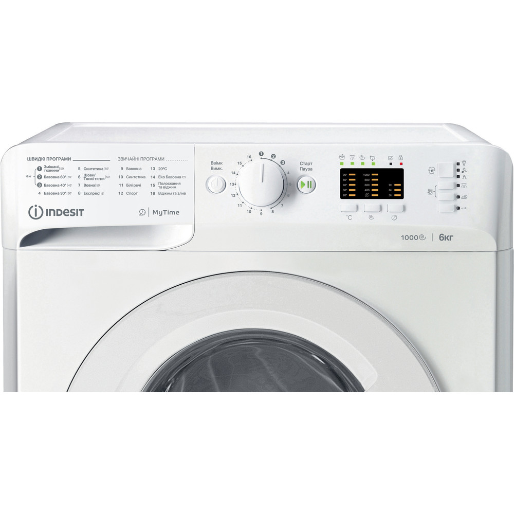 Indesit Пральна машина Соло OMTWSA 61052 W UA Білий Front loader A++ Control panel