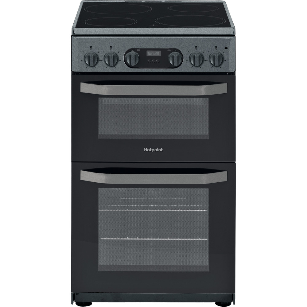 Hotpoint Double Cooker HD5V93CCSS/UK Silver A Vitroceramic Frontal