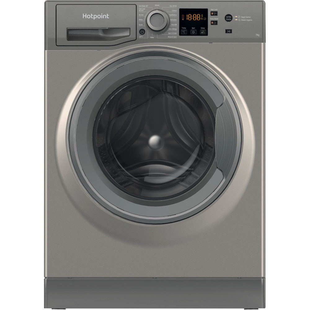 Hotpoint Washing machine Free-standing NSWM 742U GG UK N Graphite Front loader E Frontal