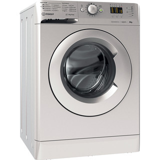 Indesit Washing machine Free-standing MTWA 81483 S UK Silver Front loader D Perspective