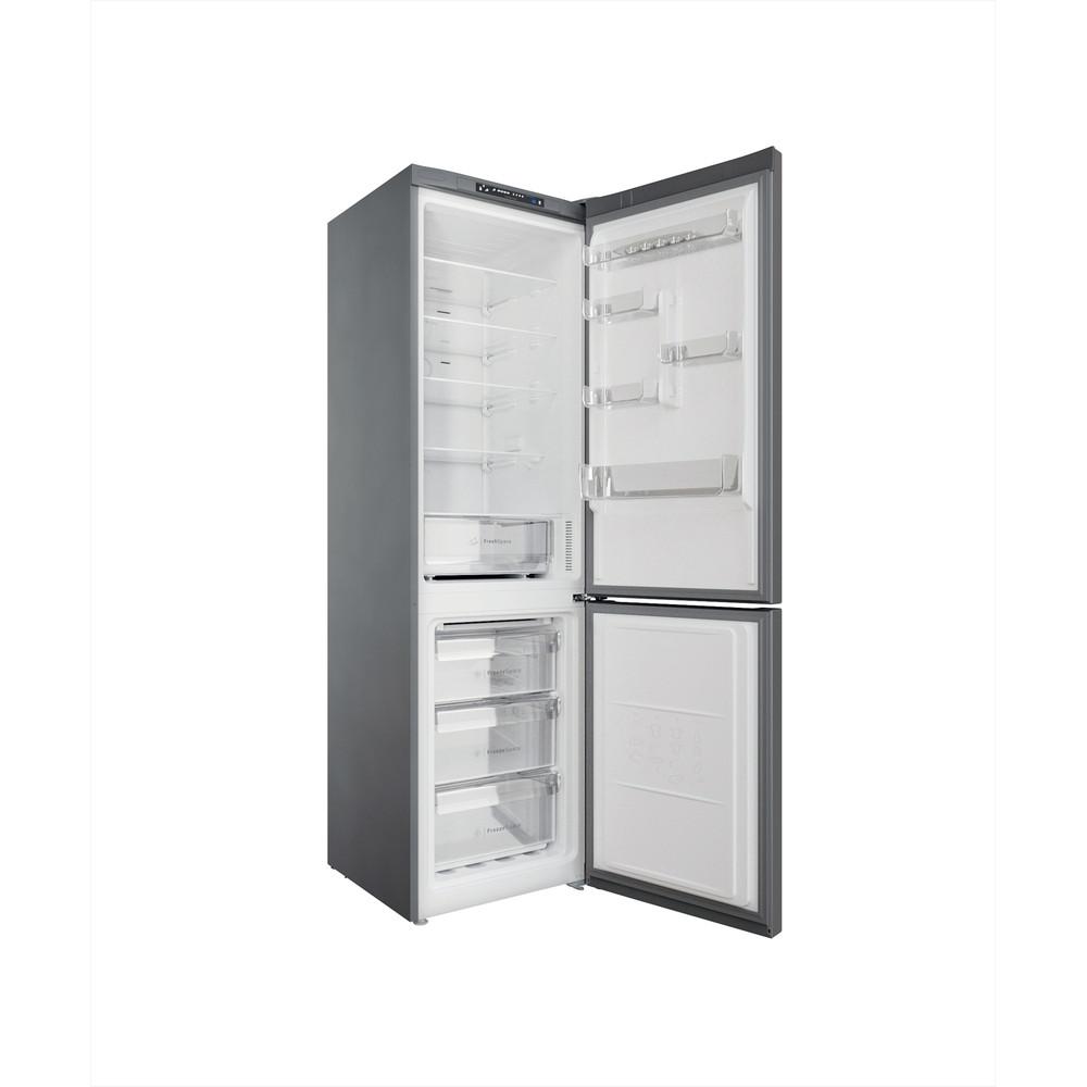 Indesit Combinazione Frigorifero/Congelatore A libera installazione INFC9 TA23X Argento 2 porte Perspective open