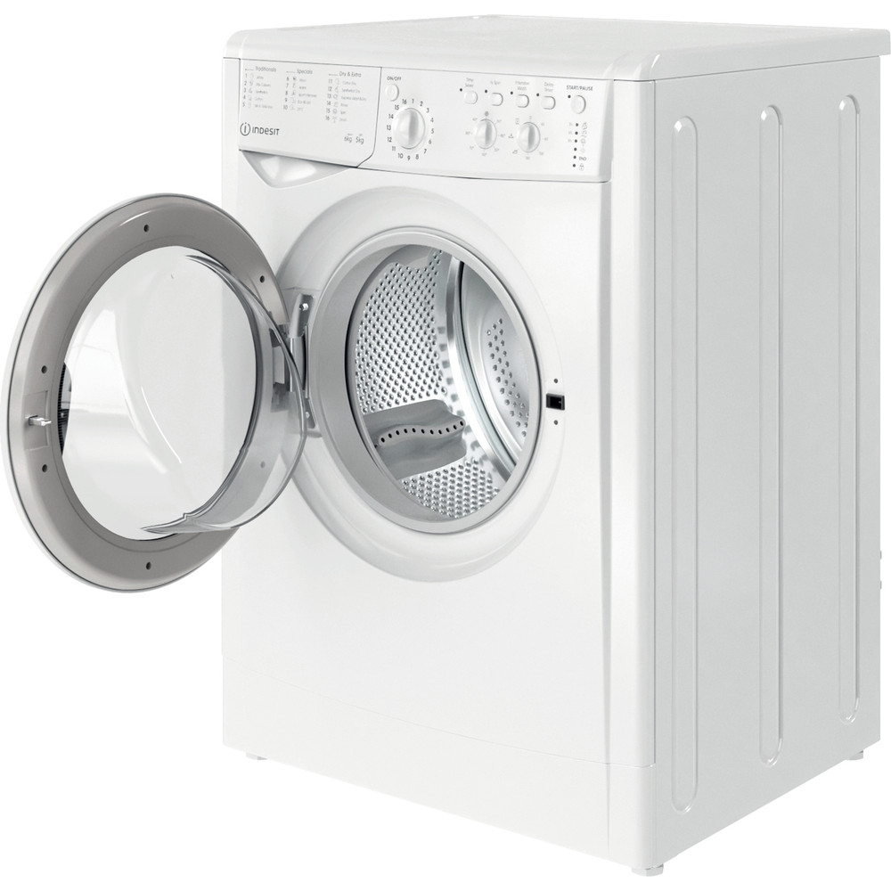 Indesit Washer dryer Free-standing IWDC 65125 UK N White Front loader Perspective open