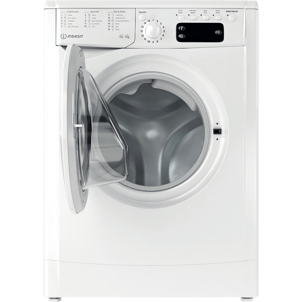 Indesit Washer dryer Free-standing IWDD 75125 UK N White Front loader Frontal open