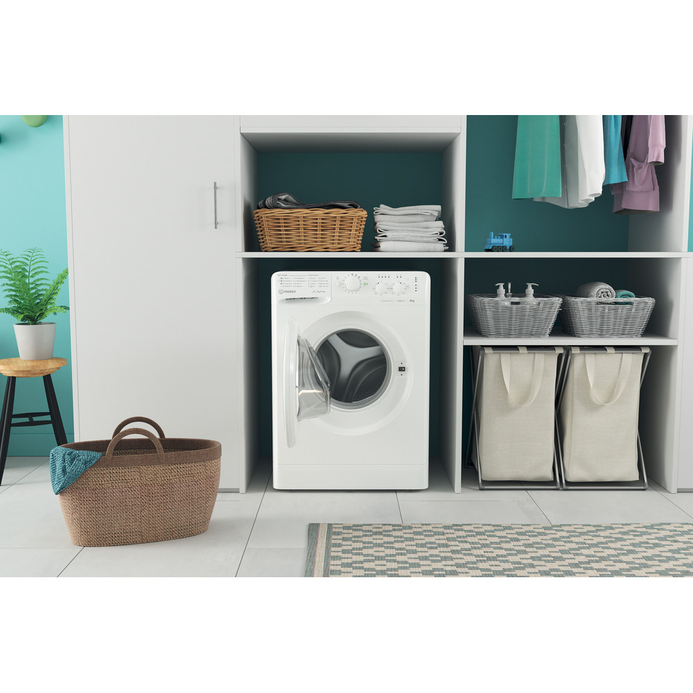Indesit Washing machine Free-standing MTWC 91283 W UK White Front loader A+++ Lifestyle frontal open